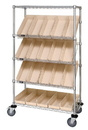 Quantum WRCSL5-63-2436-106 Wire Slanted Shelf Cart Complete With Bins, 24