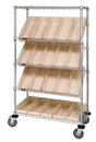 Quantum WRCSL5-63-2448-106 Wire Slanted Shelf Cart Complete With Bins, 24