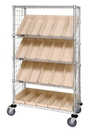 Quantum WRCSL5-63-2448EP-106 Wire Slanted Shelf Cart With Enclosure Panels With Bins, 24