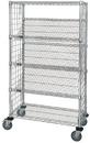 Quantum WRCSL5-63-2448EP Wire Slanted Shelf Cart With Enclosure Panels, 24