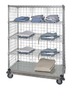 Quantum WRDBS4-63-2436EP-5 5 Shelf Dolly Base Cart W/Solid Bottom Shelf & Enclosure Panels, 24