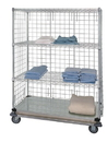 Quantum WRDBS4-63-2436EP 4 Shelf Dolly Base Cart W/Solid Bottom Shelf & Enclosure Panels, 24