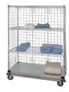 Quantum WRDBS4-63-2460EP 4 Shelf Dolly Base Cart W/Solid Bottom Shelf & Enclosure Panels, 24