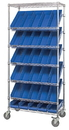 Quantum WRS-7-108 Slanted Wire Shelving Units With Economy Shelf Bins (Outside Dimensions: 36