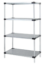 Quantum WRS4-74-1436SS Solid Shelving 4-Shelf Starter Units - Stainless Steel, 14