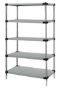 Quantum WRS5-86-1436SS Solid 5-Shelf Starter Units - Stainless Steel, 14