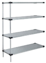 Quantum WRSAD4-74-2430SS Solid Shelving 4-Shelf Add-On Units - Stainless Steel, 24