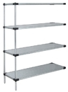 Quantum WRSAD4-86-2436SS Solid Shelving 4-Shelf Add-On Units - Stainless Steel, 24