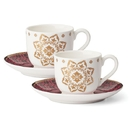Lenox 889454 Global Tapestry™ Garnet 4-piece Espresso Cup and Saucer Set