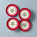 Lenox 890771 Holiday Handpaint Stripe 4-Piece Dessert Plate Set