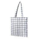 Aspire Cotton Plaid Canvas Tote Bag with Inner Pocket for Beach, Shopping, Groceries