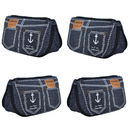 Aspire 4-Piece Denim Pencil Bags with 2 Zippered Pockets, Multi-Functional Cosmetic Bag