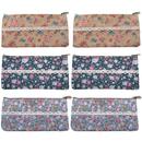 Aspire 6-Piece Floral Pencil Pouches, Assorted Storage Zipper Bag