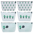 Aspire 6-Piece Assorted Pencil Pouches, Travelling Storage Bags, Cactus Pattern