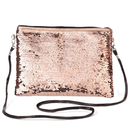Aspire Reversible Sequin Shoulder Bag, PU Leather Zipper Bag, Magic Sequin Bag for Girls