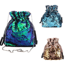 Aspire Sparkling Sequins Drawstring Shoulder Bag with Metal Chain Strap