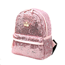 Aspire Sequins Backpack with Crown Design, Shiny Glitter School Backpack