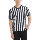 TOPTIE Soprting Goods Men's Official V-Neck Black & White Stripe Referee Shirt Jersey