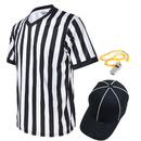 TOPTIE Men's Official V-Neck Referee Shirt Set, Officiating Black & White Striped Umpire Jersey, Hat and Metal Whistle