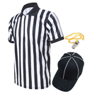 TOPTIE Sportwear Men's Pro-Style Referee Shirt with 1/4 Zip-Up Quarter Zipper, Umpire Hat and Metal Ref Whistle with Lanyard