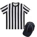 TOPTIE Children's Referee Shirt Set, Sports Football Shirt, Umpire Hat, Metal Ref Whistle with Lanyard