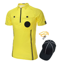 TOPTIE Men's Soccer Referee Jersey USSF Pro Short Sleeve Referee Shirt, Hat and Metal Coach Whistle for Football Soccer