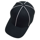 TOPTIE Sporting Goods Official Referee Hat Black with White Stripe, Adjustable Black Ball Cap