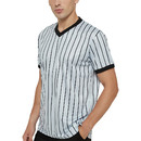 TOPTIE Basketball Referee Jersey, Officials Grey V-Neck Performance Shirt with Black Pinstripes