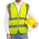 GOGO 9 Pockets High Visibility Zipper Front Safety Vest With Reflective Strips, 10 Pack