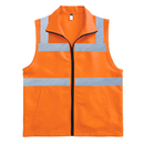 TOPTIE High Visibility Zipper Front Safety Vest With Collar 2 Pockets, Volunteer Vest