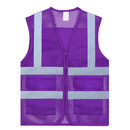 Wholesale GOGO US Adult Mesh Volunteer Vest Zipper Front Safety Vest with Reflective Strips and Pockets