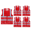 TOPTIE 5PCS Wholesale Unisex High Visibility Zipper Front Breathable Safety Vest, Mesh Volunteer Activity Vest