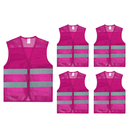 TOPTIE Pack of 5 Wholesale Unisex 2 Pockets High Visibility Zipper Front Breathable Safety Vest with Reflective Strips
