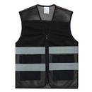 TOPTIE 50 PCS Mesh Zipper Front Safety Vest With Reflective Strips Pockets, Volunteer Vest Wholesale