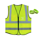 GOGO 5 Pockets High Visibility Zipper Front Breathable Safety Vest with 2 Reflective Armbands
