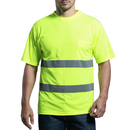 GOGO Hi Vis T Shirt Reflective Safety Lime Short Sleeve with Pocket