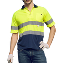 GOGO Hi Viz Navy Collar Safety Work Wear High Visibility 2 Tone Polo T-Shirt