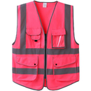 GOGO Hot Pink 7 Pockets High Visibility Zipper Front Safety Vest With Reflective Strips