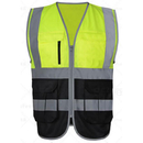 GOGO Multi Pockets High Visibility Zipper Front Safety Vest With Reflective Strips and Piping