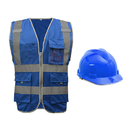 GOGO 9 Pockets High Visibility Zipper Front Reflective Safety Vest with Hard Hat
