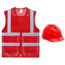 GOGO Unisex Volunteer Pockets Safety Vest Reflective Running Cycling Vest with Hard Hat