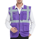 GOGO 5 Pockets High Visibility Safety Vest with Reflective Strips, 10 Pack Working Uniform Vest