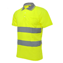 GOGO High Visibility Reflective Short Sleeve Polo Shirt, Hi-Visibility Pocket Tee