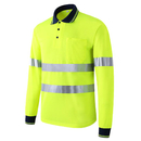 GOGO Hi-Vis Safety Polo Shirt Reflective Long Sleeve Pocket Tee ANSI Class 3