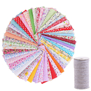50 Pcs Cotton Fabric Flat Elastic 196 Yards for Sewing DIY Material Cloth Printed Floral Handicrafts Home Decoration Quilting Patchwork 9.8