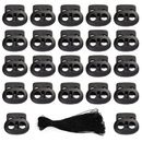 100 PCS Double Holes Bean Cord Lock Stoppers Spring Toggles and Elastic Cord Rope 50 Yards for Backpack Shoelaces Clothes Black
