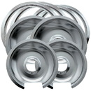 Range Kleen 1056RGE8 Style D 8-Pack Heavy Duty Chrome 4 Piece Drip Pans and 4-Piece Trim Rings