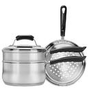 Range Kleen CW2011R Basics 3 Quart Covered Sauce Pan with Double Boiler & Steamer Insert