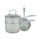 Range Kleen CW7100 Specialty 3 Quart Covered Sauce Pan with Double Boiler and Steamer Insert
