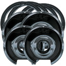 Range Kleen P1056RGE8 Style D Heavy Duty Black Porcelain 4 Pack Drip Pans, 4 Pack Trim Rings 2 Small/2 Large